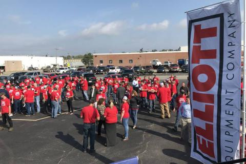 Photo: Elliott Equipment employees gathered in the company's Omaha parking lot to hear from the CEO and Rep. Bacon about tax reform and other Washington issues as part of a rally organized by the Association of Equipment Manufacturers under its I Make America project. PHOTO: THEO FRANCIS/THE WALL STREET JOURNAL